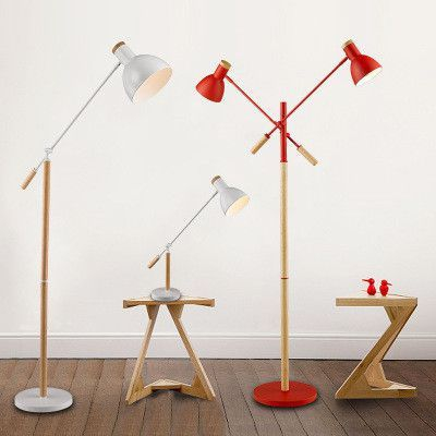 美式客厅卧室现代简约书房落地台灯实木立式落地灯台灯