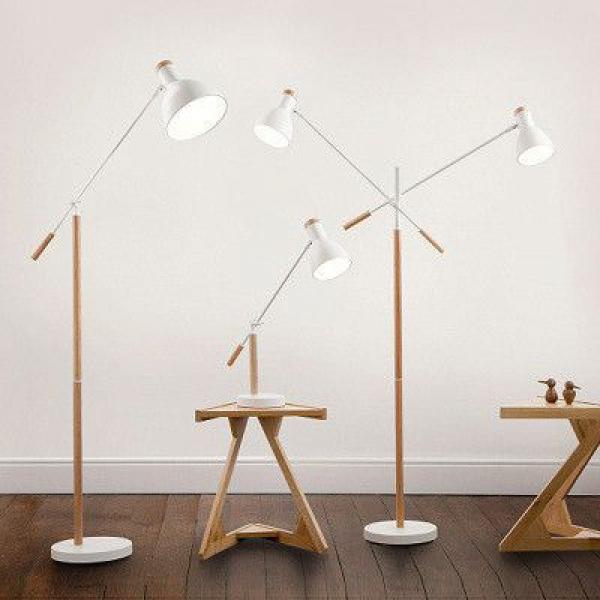 美式现代简约实木立式落地灯